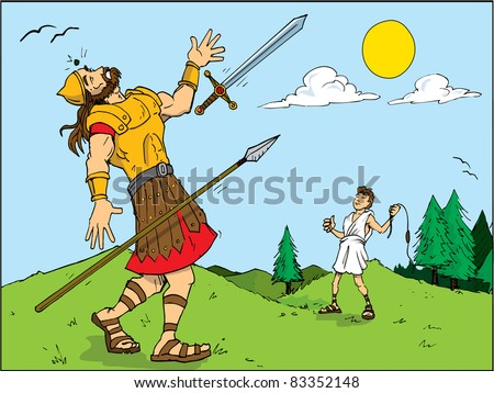 Cartoon of Goliath defeated by David. Bible story - stock vector