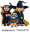 Cartoon of group of kids in Haloween costumes. A vampire, a superhero and a witch - stock vector