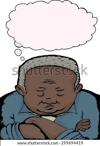 Cartoon of grumpy old man with folded arms - stock vector