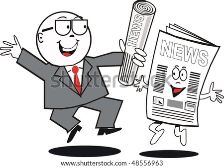 Cartoon of happy businessman celebrating with newspaper. - stock vector