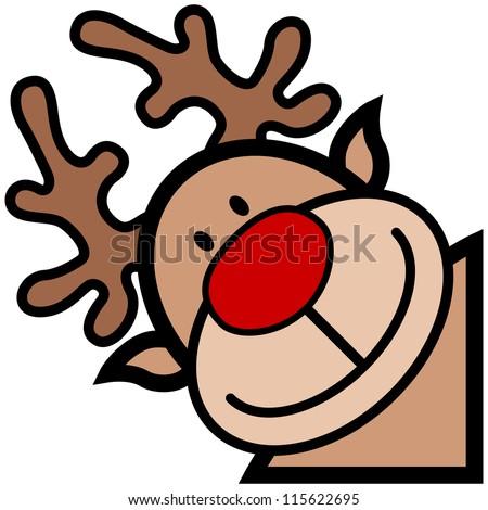 cartoon of happy smiling reindeer character - stock vector