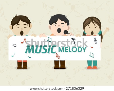 Cartoon of kids singing in microphone and holding white board with text Music Melody. - stock vector