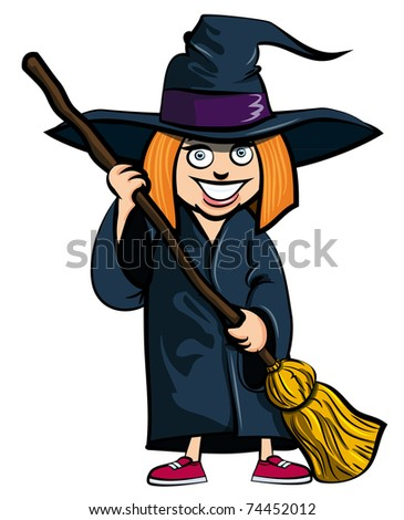 Cartoon of little girl in a witches costume. She is ready for trick or treating