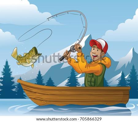 Fishing Boat Cartoon Cartoon Catfish...