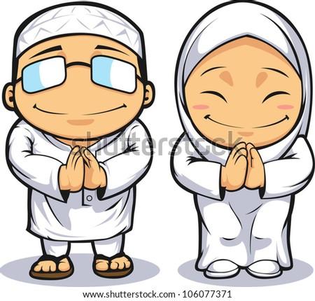 Cartoon of Muslim Man Woman - stock vector