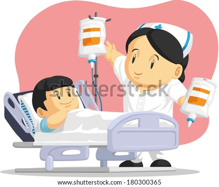 Cartoon of Nurse Helping Child Patient - stock vector