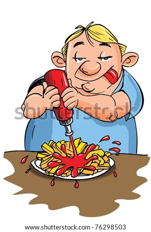 Cartoon of overweight man putting ketchup on his fries. Isolated