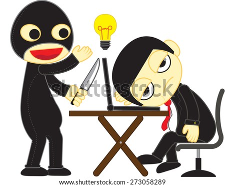 Cartoon of plagiarize man - Illustration - stock vector
