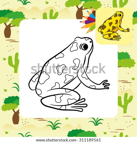 cartoon of poison dart frog coloring page vector - Cartoon Frog Coloring Pages