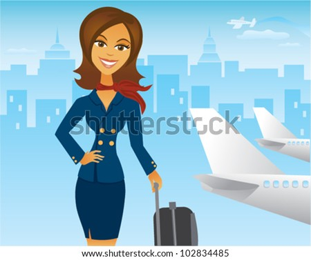 Cartoon of Pretty femal Flight Attendant in Airport - stock vector