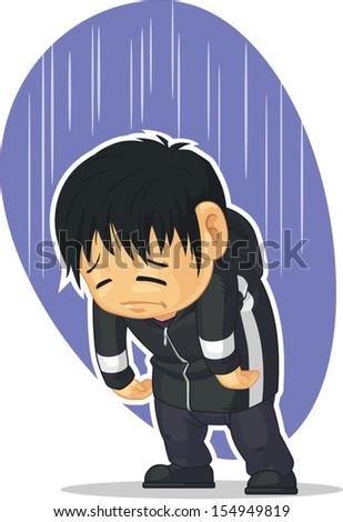 Cartoon of Sad Boy - stock vector