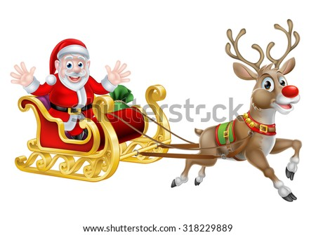 Cartoon of Santa and his reindeer with his Christmas sled - stock vector