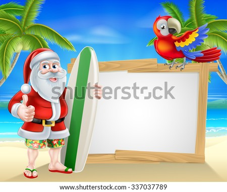 Cartoon of Santa Claus holding a surf board and doing a thumbs up in his Hawaiian board shorts and flip flop sandals in front of a sign on a beach with a parrot on the sign and palm trees background  - stock vector