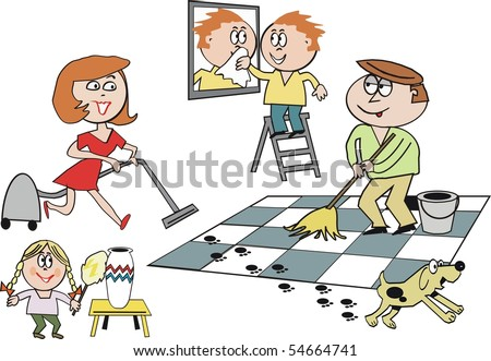 Cartoon of smiling family cleaning house along with pet dog.