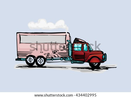 cartoon of truck in hand drawn style isolated on light blue background - stock vector