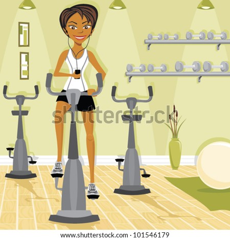 Cartoon of woman on an exercise bike at the gym - stock vector