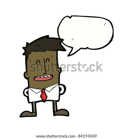 cartoon office man talking - stock vector