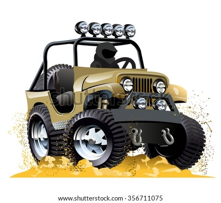 Cartoon offroad vehicle isolated on white background. Available EPS-10 vector format separated by groups and layers for easy edit - stock vector