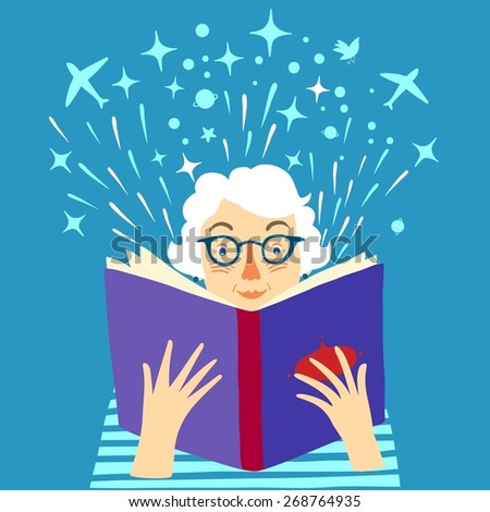 Cartoon old lady reading big book. Vector illustration. - stock vector