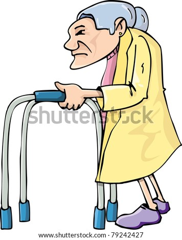 Cartoon old lady using a walking frame. Isolated on white - stock vector