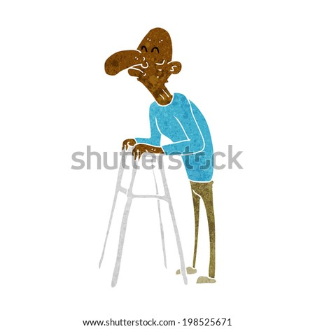 Cartoon Old Man Walking Frame Stock Vector 198525671 - Shutterstock