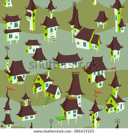 Cartoon old town seamless pattern. Vector illustration - stock vector