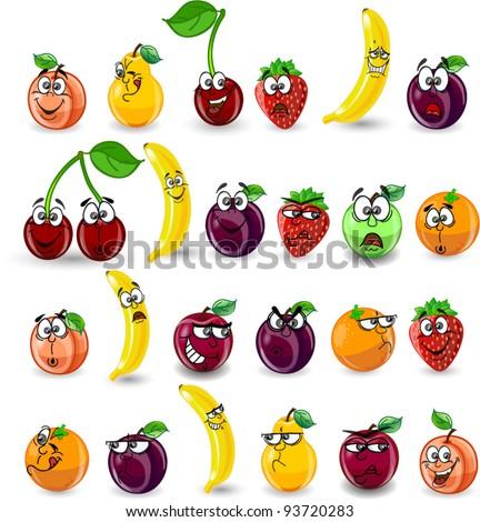 Cartoon orange, banana, apples, strawberry, pear, cherry, peach, plum - stock vector
