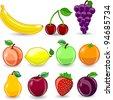 Cartoon orange, banana, apples, strawberry, pear, cherry, peach, plum, lemon, grape - stock vector