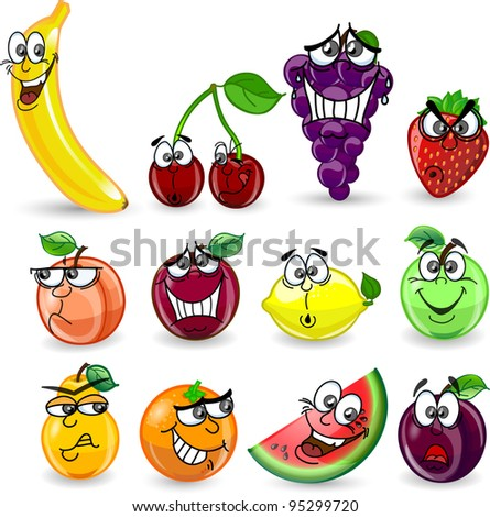 Cartoon orange, banana, apples, strawberry, pear, cherry, peach, plum, lemon, grapes, watermelon - stock vector