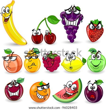 Cartoon orange, banana, apples, strawberry, pear, cherry, peach, plum, lemon, grapes, watermelon, raspberry - stock vector