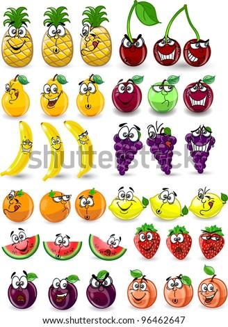 Cartoon orange, banana, apples, strawberry, pear, cherry, peach, plum, lemon, grapes, watermelon, raspberry ,pineapple - stock vector