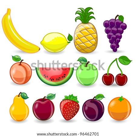 Cartoon orange, banana, apples, strawberry, pear, cherry, peach, plum, lemon, grapes, watermelon, raspberry, pineapple - stock vector