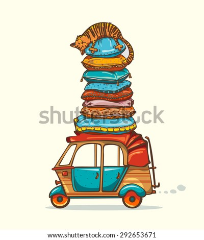 Cartoon orange cat sleeping on the tower from pillows on a roof of the auto rickshaw. Funny childish vector illustration. - stock vector