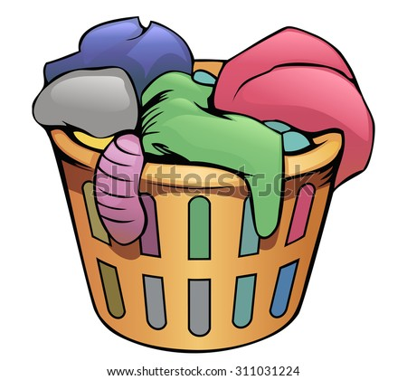 cartoon orange clothes basket stock vector 311031224 shutterstock rh shutterstock com Clean Clothes Clip Art Cartoon Pile of Clothes