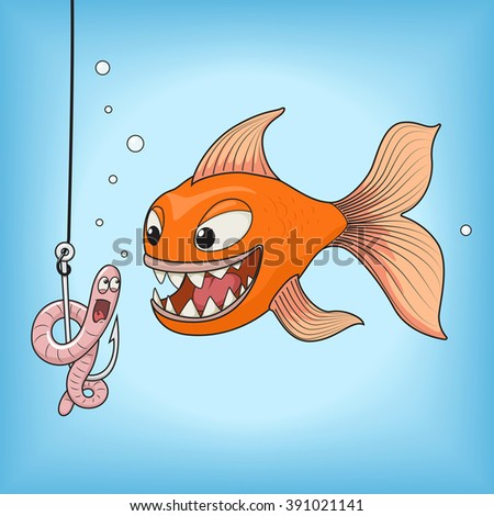 Cartoon orange fish hunts on a pink worm vector illustration. Fun, fishing, hook underwater. - stock vector