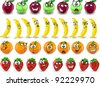Cartoon oranges, bananas, apples, strawberries with emotions - stock vector