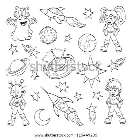 Cartoon outer space set (coloring book) - stock vector
