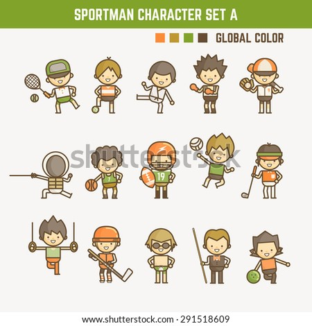 cartoon outline sportman character set