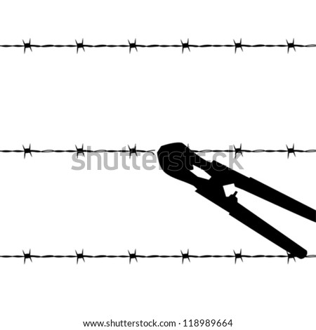 Cartoon Outline Vector Illustration Showing Barbed Stock Vector ...