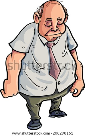 Cartoon overweight man looking very sad. Isolated on white