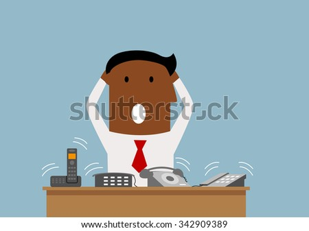 Cartoon overworked african american businessman has a lot of telephone calls, for stress on work or burnout syndrome design - stock vector