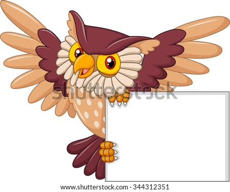 Cartoon owl bird flying holding blank sign - stock vector