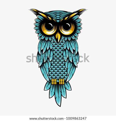 Cartoon owl vector design illustration owl stock vector T shirt with owl design