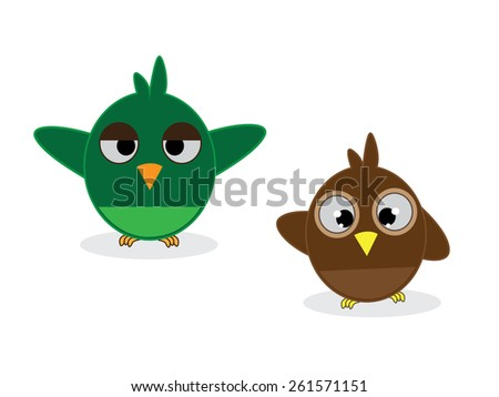 Cartoon owls .vector illustration