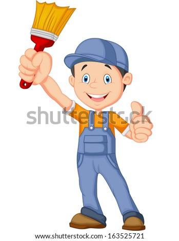 Cartoon painter giving thumb up - stock vector