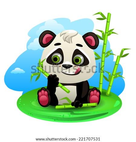 Cartoon panda - stock vector