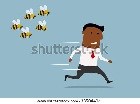 Cartoon panicked african american businessman running away from a swarm of angry huge bees - stock vector