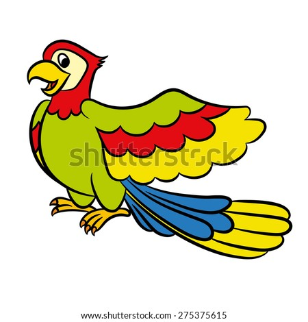 Parrot Cartoon Pictures Cartoon Parrot on a White