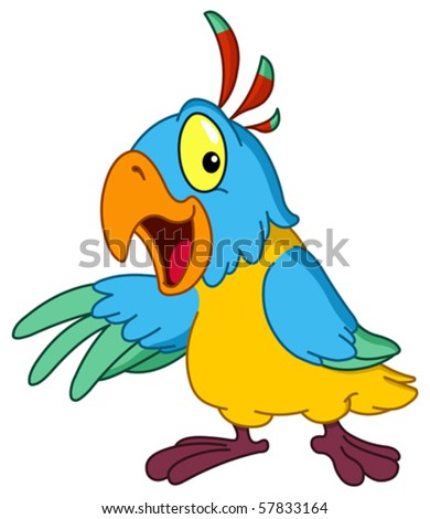 Cartoon parrot presenting with his wing - stock vector