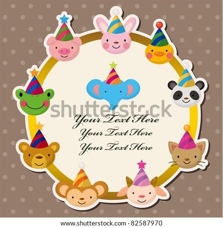 Cartoon Party animal head card - stock vector